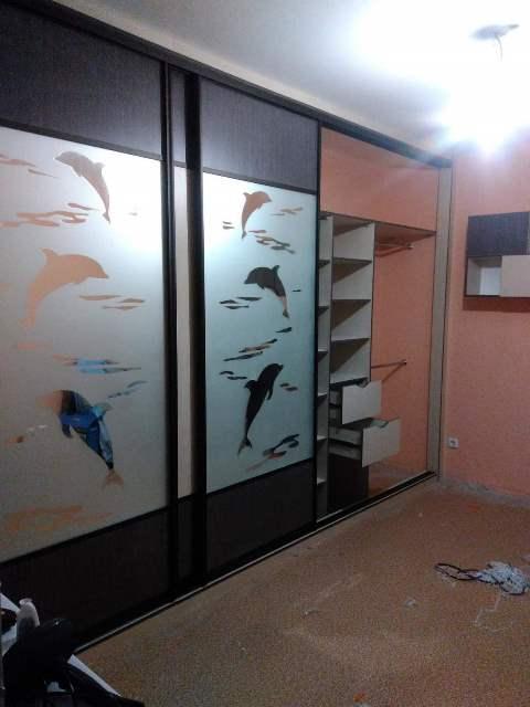 шкаф-купе с пескоструйным рисунком заказать в Омске
