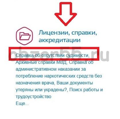 ищем раздел ГОСУСЛУГИ «Лицензии, справки, аккредитации»