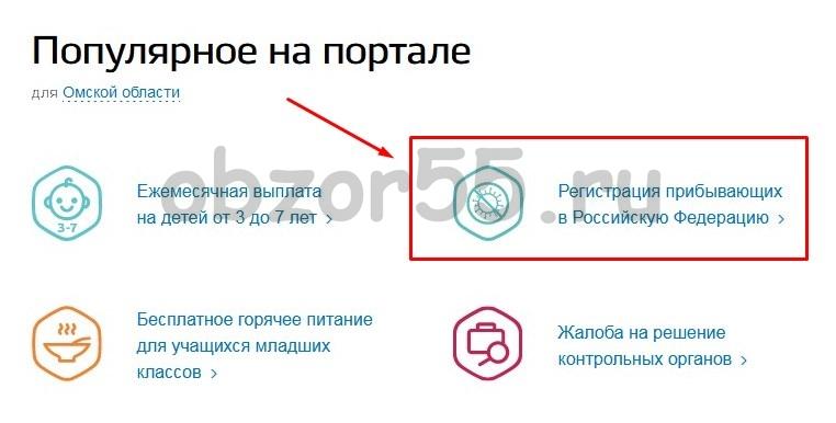 «Регистрация прибывающих в Российскую Федерацию» услуга