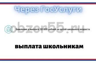 Выплата 10 000 рублей на детей школьного возраста госуслуги